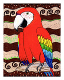 Red parrot scarlet macaw art print for sale at Raspberry Lane Crafts