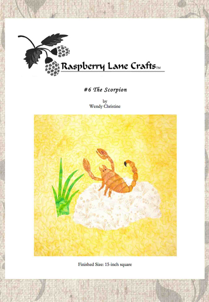 The Scorpion desert quilt block pattern digital download front page features an orange scorpion on a rock with green grass.  Sold by Raspberry Lane Crafts.  Designed by Wendy Christine. Buy Purchase Pattern