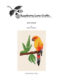 Sun Conure cross stitch pattern yellow parrot on green leaf branch cover page of digital download for sale at Raspberry Lane Crafts.