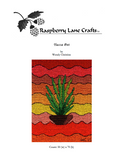 Yucca Pot Cross Stitch Pattern Digital Download first page image is of a green yucca with wavy sunset colors background.  Raspberry Lane Crafts.