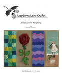 Sea to Garden Bookmarks cross stitch pattern digital download front page by Raspberry Lane Crafts pictures the sea grass, dark red rose with long green stem, waves of gorgeous purple and a sandpiper bird on an ocean shoreline.