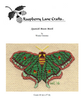 Spanish Moon Moth cross stitch pattern is a green butterfly with aqua and rust.  Buy at Raspberry Lane Crafts.