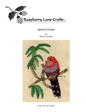 Squirrel Cuckoo Bird cross stitch pattern red and purple tropical bird with green leaves is pictured on the front page of this digital download cross stitch pattern sold at Raspberry Lane Crafts.  Buy purchase
