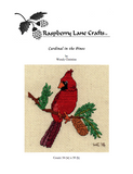 Purchase Cardinal in the Pines cross stitch pattern digital download front page depicts the Raspberry Lane Crafts logo and the finished cross stitch of a male cardinal on a pine branch with pinecone. Purchase at Raspberry Lane Crafts.