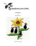 Crowflower cross stitch pattern digital download front cover features the Raspberry Lane Crafts logo and a giant yellow sunflower with green leaves like arms holding four cute teardrop black crows.