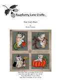 Four Scary Bears cross stitch pattern digital download features the Raspberry Lane Crafts logo and four teddy bears in orange pumpkin, decorating a bat tree, trick or treating in monster costume and wearing a witch hat with cauldron and broom.