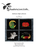 Halloween Night Collection four cross stitch patterns digital download front page features a green cat with moon, pumpkin jack-o-lantern, white and gray ghost and colorful gourds and fall leaves.  For sale at Raspberry Lane Crafts buy purchase.