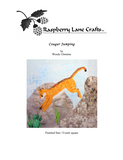 Cougar Puma Mountain Lion Jumping quilt block pattern digital download for sale front page features the orange cat jumping off huge rocks.  Available for purchase buy at Raspberry Lane Crafts.  Designed by Wendy Christine