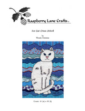 Ice cat cross stitch pattern download of white cat with blue background.  Raspberry Lane Crafts.