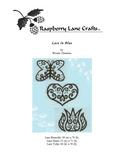 Cover page of Lace in Blue cross stitch digital download pattern featuring finished cross stitches lace heart, lace butterfly and lace tulip at Raspberry Lane Crafts.