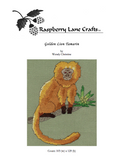 Buy Raspberry Lane Crafts golden lion tamarin monkey sitting on branch with a green bromeliad in cross stitch pattern for sale.