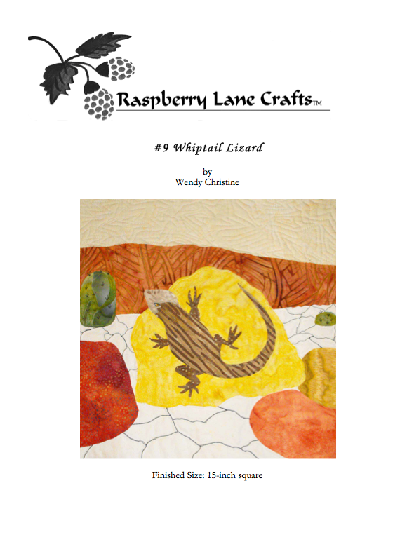 The Whiptail Lizard quilt block pattern digital download front page features the Raspberry Lane Crafts logo and a picture of the completed block with brown striped lizard sunning on a yellow rock with cracked earth, other rocks, and arroyo in the background.  Buy or purchase at Raspberry Lane Crafts.