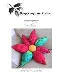 Poinsettia Pillow sewing pattern digital download depicts the completed holiday red flower with two green leaves and yellow center 3D.  Buy at Raspberry Lane Crafts.