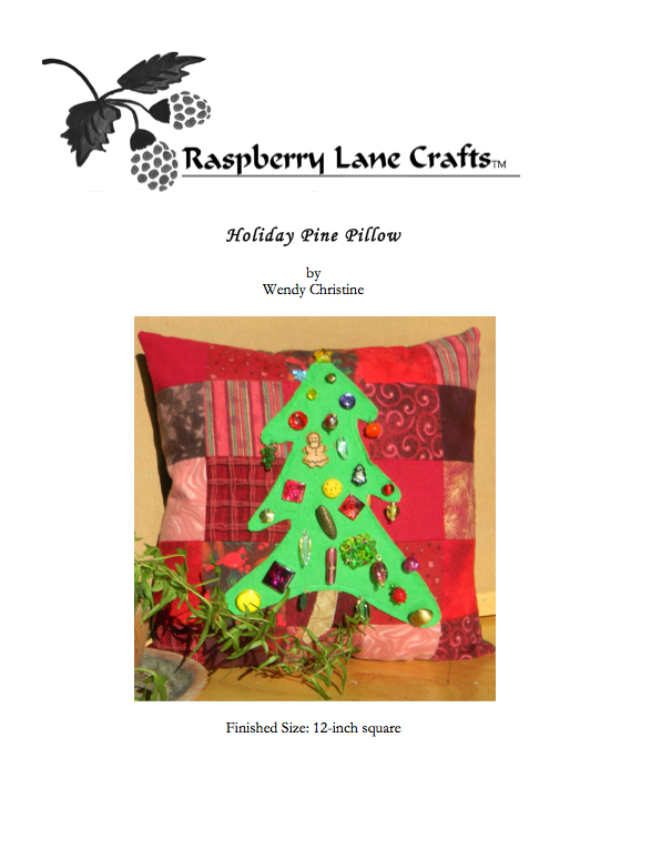 Holiday Pine Pillow pattern digital download front page pictures the Raspberry Lane Crafts logo and finished pillow of green Christmas tree decorated with beads on a background of red flannel squares.  Buy at Raspberry Lane Crafts.