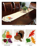 Photograph of Turkey and Apples Tablerunner on a dark dining table and closeups of the fruit and gourd section, turkey, and leaves section. Raspberry Lane Crafts.