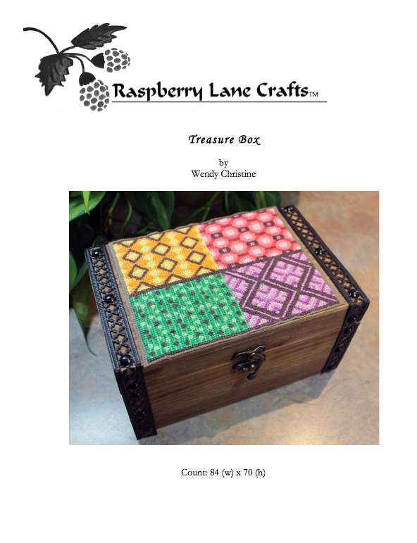 Treasure Box cross stitch pattern digital download front page includes the finished box in a four-square of patterns in green, gold, coral red, and violet with brown highlights.  Purchase at Raspberry Lane Crafts.  www.raspberrylanecrafts.com