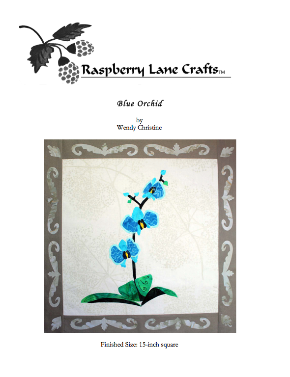 Blue Orchid quilt block pattern digital download front page features the finished block of a trio of aqua orchid flowers and buds with dark green stem and bright green leaves.  Download at Raspberry Lane Crafts.