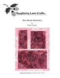 Rose Blooms embroidery pattern download features a closed rose with stem and bubbles, a fully opened rose with two leaves, and an open rose in a heart flourish.  Raspberry Lane Crafts.