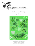 Verdant Leaves Embroidery Design digital download front cover includes ivy leaves, bamboo shoot, and leaf branch.  Available for purchase at Raspberry Lane Crafts.