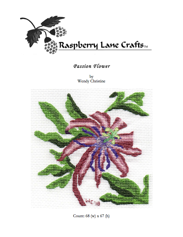 Tropical passion flower cross stitch pattern to buy at Raspberry Lane Crafts NEW September 2018