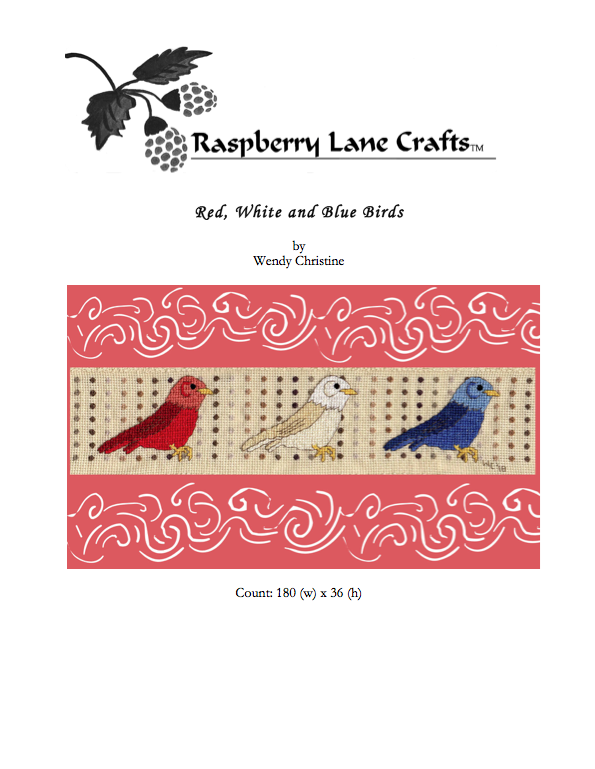 Red, White, and Blue Birds Cross Stitch Digital Download
