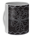 Charcoal Daisy mug features a black and white flower art print and gray wrap-around with white handle.  From The Art of Wendy Christine.  Purchase, Buy, on Sale at Raspberry Lane Crafts in the Raspberry Lane Home Collection.
