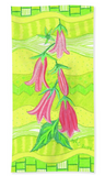 Lime green hand towel with pink flowers.  Buy Purchase Find at Raspberry Lane Crafts