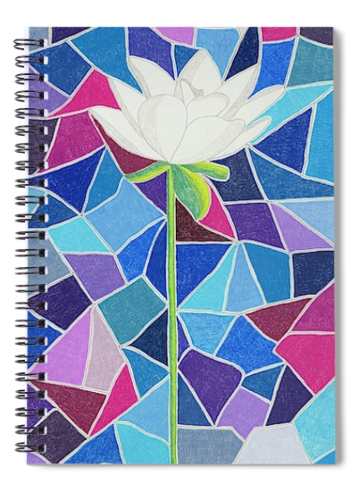 "White Lotus on Stained Glass Spiral Notebook features the white flower on long stem with blue and purple ""stained glass"" look.  For sale at Raspberry Lane Crafts."