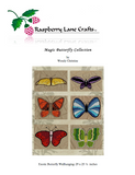 Magic Butterfly Collection six cross stitch patterns digital download front page pictures the Raspberry Lane Crafts logo and a yellow, purple, blue, green, orange, and red butterfly on tan background.  Sold at Raspberry Lane Crafts.  Wholesale and Retail.