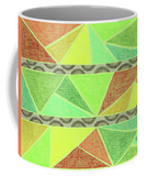 Coral Tunisia Coffee Mug features colorful triangles pattern.  Unique Mug Gift Idea.  The Art of Wendy Christine.
