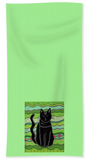 Buy green hand towel with black cat.  The Art of Wendy Christine.  Buy Find Purchase at Raspberry Lane Crafts