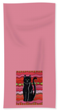 Pink hand towel featuring black cat on red design. Raspberry Lane Home Collection.