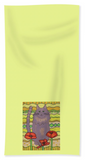 Yellow Hand Towel with Gray Cat and Poppy Flowers for Sale at Raspberry Lane Home Collection