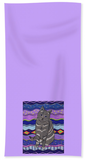 City Cat Purple Towel depicts a gray cat with violet eyes artwork by Wendy Christine.  For Sale Purchase Find Buy.  Thanks!