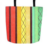 Cabana Tote Bags feature stripes of orange yellow green and brown for sale at Raspberry Lane Crafts.