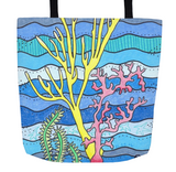 Coral Island Tote Bag features yellow pink green coral on aqua blue for sale at Raspberry Lane Crafts