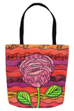 Southwest Sunset Colors Tote Bag with Flower for sale at Raspberry Lane Crafts