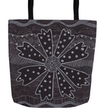 Charcoal Daisy Tote Bags for sale.  Great for Books and Magazines.  Raspberry Lane Home Collection