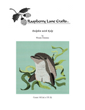 Buy Dolphin with Kelp cross stitch pattern download for sale pictures a gray bottlenose dolphin in various green-shades of kelp on a sea blue background.  Raspberry Lane Crafts. Ocean Sea Seaside Beach Marine