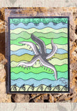 Sea Star art print for sale - gray seastar with green waves.  Buy Find Purchase.