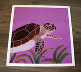 Sea Turtle Purple Art Print