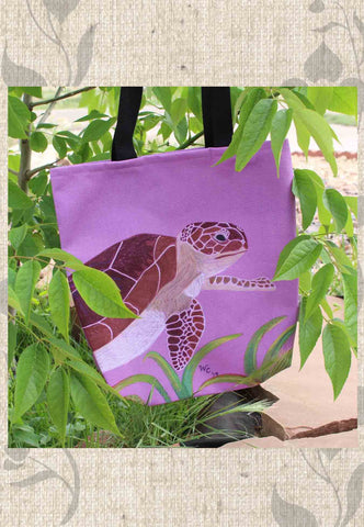 Sea Turtle Purple Tote Bags