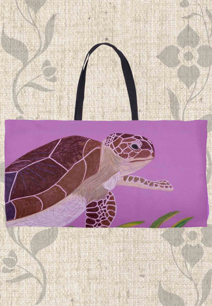 Purple Violet Weekender Tote Bags with Sea Turtles on Them for Sale.