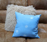 Sea Water Dot Blue Throw Pillows 14 x14 inches for sale 16 x 16 18 x 18 at Raspberry Lane Crafts