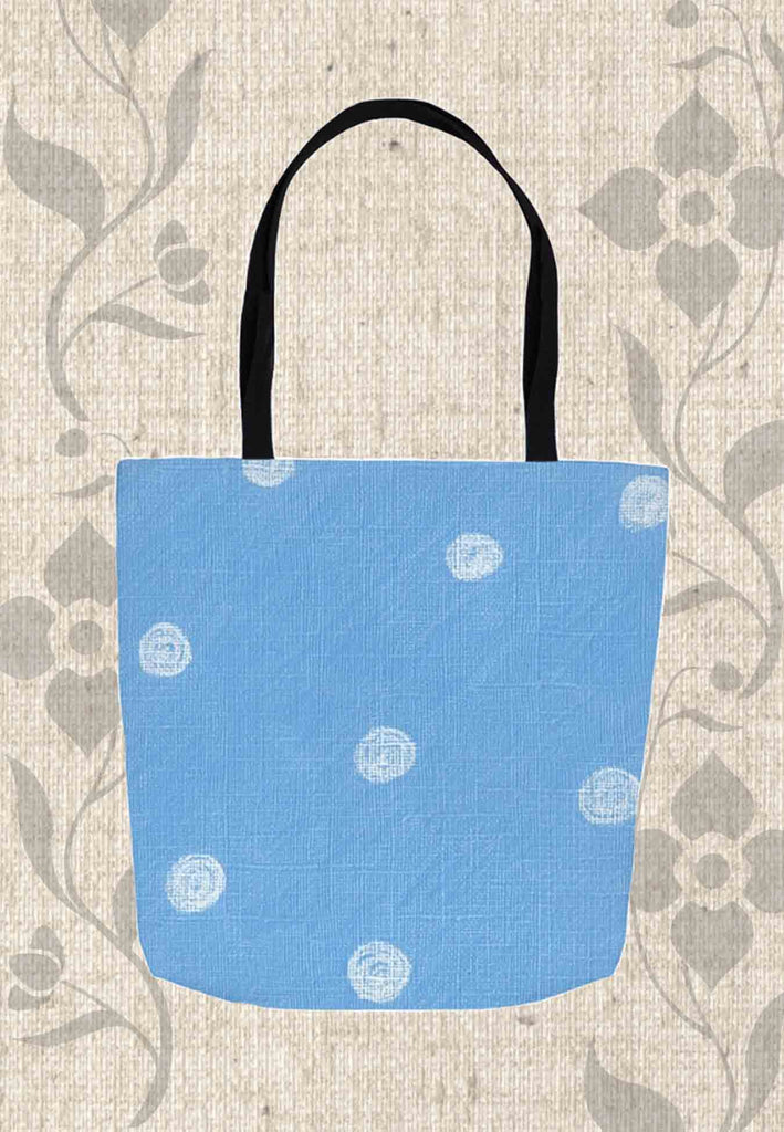 Sea Water Dot Tote Bags feature a blue bag with with dots for sale at Raspberry Lane Crafts