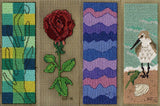 Sea to Garden book mark cross stitch pattern completed image