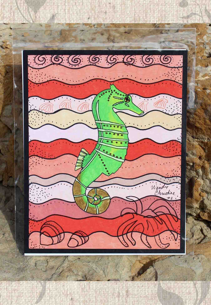 Green Seahorse art print on coral Find for Sale The Art of Wendy Christine