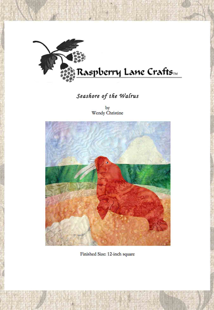 Walrus quilt block pattern for sale download at Raspberry Lane Crafts