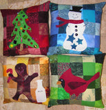 Seasons Greetings Pillow Collection pattern photo features completed picture of snowman, cardinal, gingerbread man, and tree pillows in flannels.  Raspberry Lane Crafts. Buy Purchase for Sale.