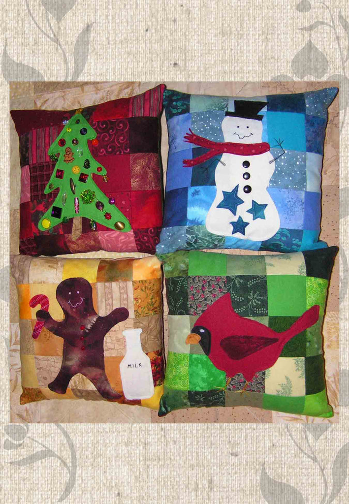 Christmas Pillow Pattern Collection for Sale Snowman Tree Gingerbread Man, Cardinal